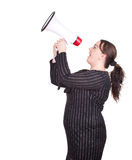 Overweight woman with megaphone Stock Photo