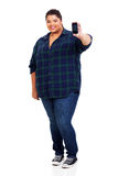 Overweight woman mobile Stock Photos