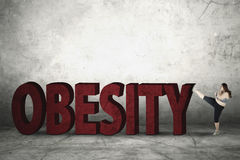 Overweight Woman with Obesity Word Stock Image