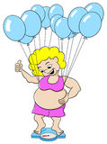 Overweight woman outwits a bathroom scale with balloons Royalty Free Stock Photo