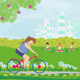 Overweight woman ride on bike. Vector Illustration Royalty Free Stock Image