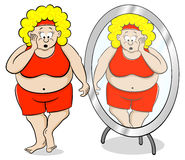 Overweight woman is shocked in front of a mirror Royalty Free Stock Image