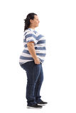 Overweight woman waiting in line Stock Images