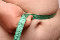 Overweight women stomach. Overweight women measure her stomach Stock Photo