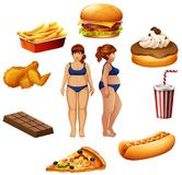 Overweight women with unhealthy food. Illustration Stock Photo