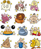 Overweight zodiac signs. Set of overweight  cartoon zodiac horoscope signs Stock Photography