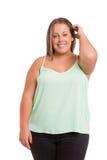 Overweighted kvinna fotografering för bildbyråer