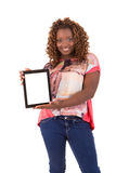 Overweighted woman. Overweighted african woman presenting your product in a tablet computer Royalty Free Stock Images