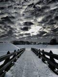 Overweldigend beeld, de winterbrug, klaipÄ-DA, Litouwen royalty-vrije stock foto's