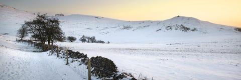 Overweldigend behandeld het plattelandsverstand van het de Winter panoramisch landschap sneeuw Royalty-vrije Stock Afbeelding
