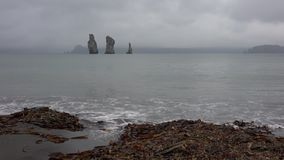 Overweldigend die het Schiereilandzeegezicht van Kamchatka - strand van zwart vulkanisch zand wordt gemaakt stock videobeelden