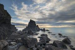 Overweldigend, het trillende beeld van het zonsopganglandschap van Barafundle-Baai op P Stock Fotografie