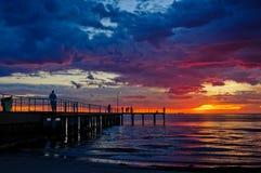 Overweldigend ogenblik bij St Kilda Beach Stock Afbeelding