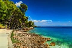 Overweldigend strand met rotsachtige kustlijn Stock Foto's