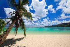 Overweldigend strand in Seychellen Stock Foto's