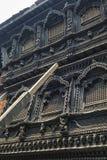 Overweldigende architectuur in de tempel van Kumari Ghar van de levende godin Kumari Devi na belangrijke aardbeving in 2015, Katm Royalty-vrije Stock Foto