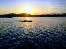 Overweldigende die zonsondergangmening uit Stearns-Werf Santa Barbara wordt genomen royalty-vrije stock foto's