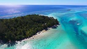 Overweldigende 4k luchthommelmening over tropisch eiland in Frans Polynesia turkoois Vreedzaam oceaan wild de aardzeegezicht van  stock videobeelden
