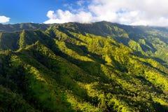 Overweldigende luchtmening van spectaculaire wildernissen, Kauai stock foto