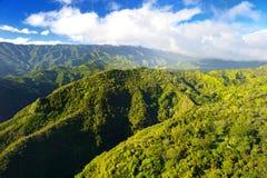 Overweldigende luchtmening van spectaculaire wildernissen, Kauai stock fotografie