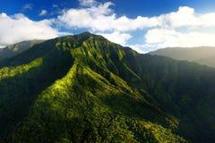 Overweldigende luchtmening van spectaculaire wildernissen, Kauai stock foto's