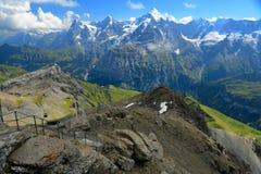 Overweldigende mening van de beroemde pieken: Eiger, Monch en Jungfrau van Royalty-vrije Stock Foto