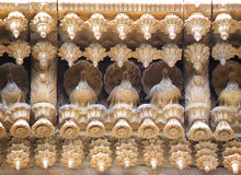 Overweldigende Muurdecoratie in de Hindoese Tempel, India Royalty-vrije Stock Afbeelding