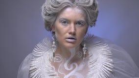 Overweldigende Sneeuwkoningin met sneeuwvlokken op haar gezicht en ijzige juwelen, langzame motie stock videobeelden