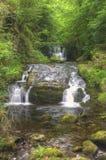 Overweldigende waterval die over rotsen stroomt Stock Afbeeldingen