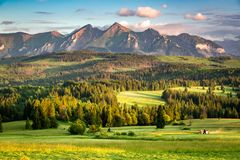 Overweldigende zonsondergang bij de bergen van Belianske Tatra in Polen stock foto