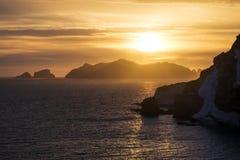 Overweldigende zonsondergang over het overzees Stock Afbeelding