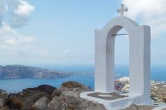 Overwelfde galerij op Santorini Stock Fotografie