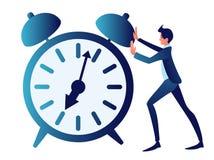 Overwerk, dubbelzinnig, tijdbeheer Het abstracte concept, een zakenman duwt een klok In minimalistische stijl vector illustratie