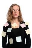 overwhelmed женщина задач Стоковые Изображения