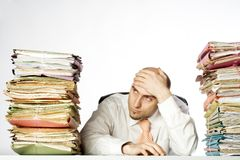 Overwhelmed Businessman Royalty Free Stock Images