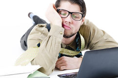 Overwhelmed businessman Stock Image