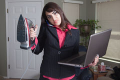 Overwhelmed businesswoman Stock Photography
