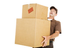 Overwhelmed Delivery Guy Stock Photography