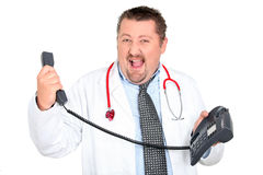 Overwhelmed doctor Royalty Free Stock Photography