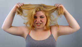 Overwhelmed Hair Pulling Stock Photography