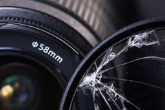 Overwhelmed by hitting a UV filter for photo lens Stock Photos