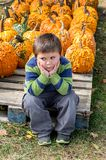 Overwhelmed little boy at a pumpkin patch royalty free stock photography