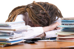 Overwhelmed with paperwork Stock Image