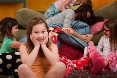 Overwhelmed at a Sleepover Royalty Free Stock Image