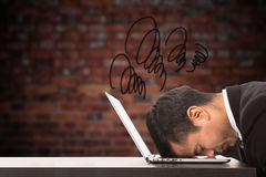 Overwhelmed stress businessman overload feeling. Stock Image