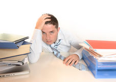Overwhelmed Stressed student or Businessman Royalty Free Stock Photos