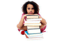 Overwhelmed by studying homework. Stock Photography