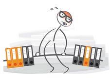 Overwhelmed And Understaffed. Businessman heavy workload -  illustration Stock Images