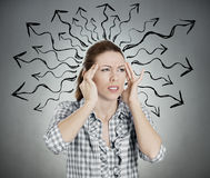 Overwhelmed woman Royalty Free Stock Photography