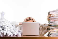 Overwhelmed with work Royalty Free Stock Image